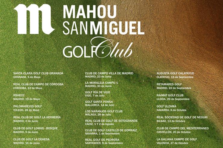 Calendario del Circuito Mahou San Miguel Golf Club 2018, con la primera prueba el 5 de Mayo en Santa Clara Golf Granada