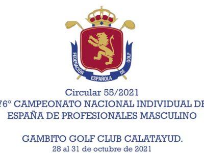 Circular 55/2021. 76º Campeonato nacional individual de España de Profesionales Masculino